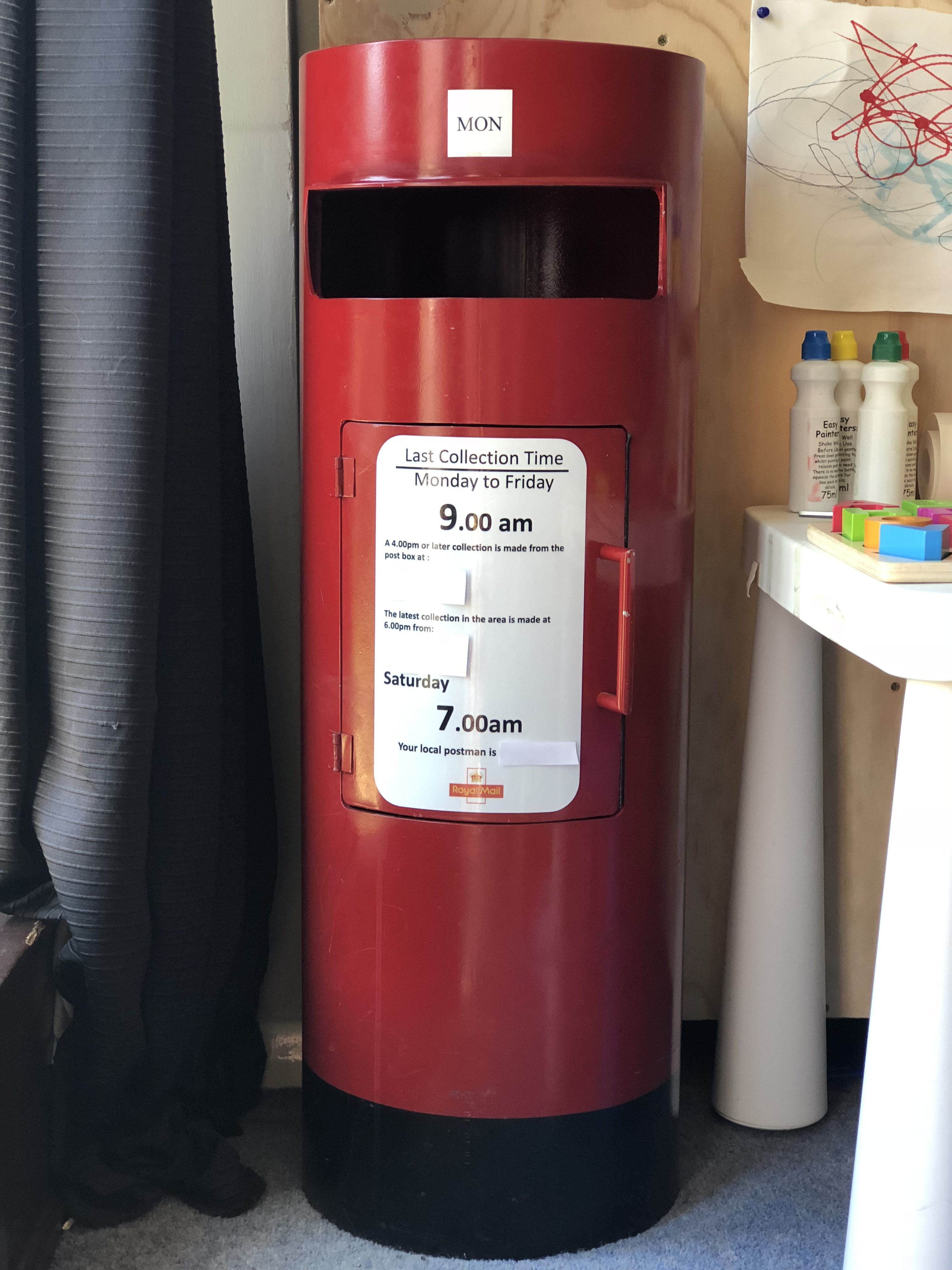 Bespoke, handmade postbox. Realistic Royal Mail postbox with opening door front to collect the post. Graphics can be personalised to tailor to your child.